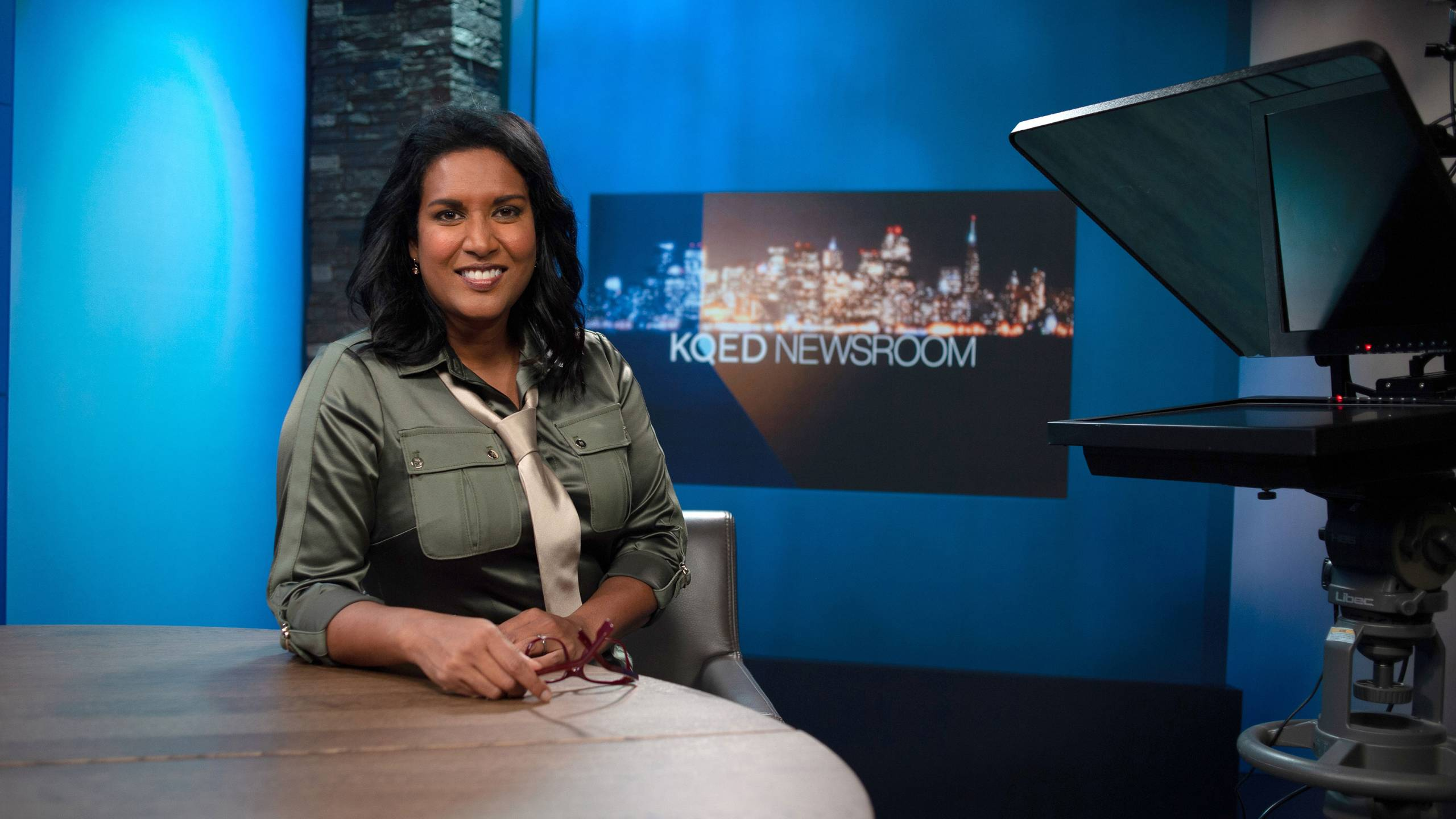 Priya David Clemens on the KQED Newsroom set