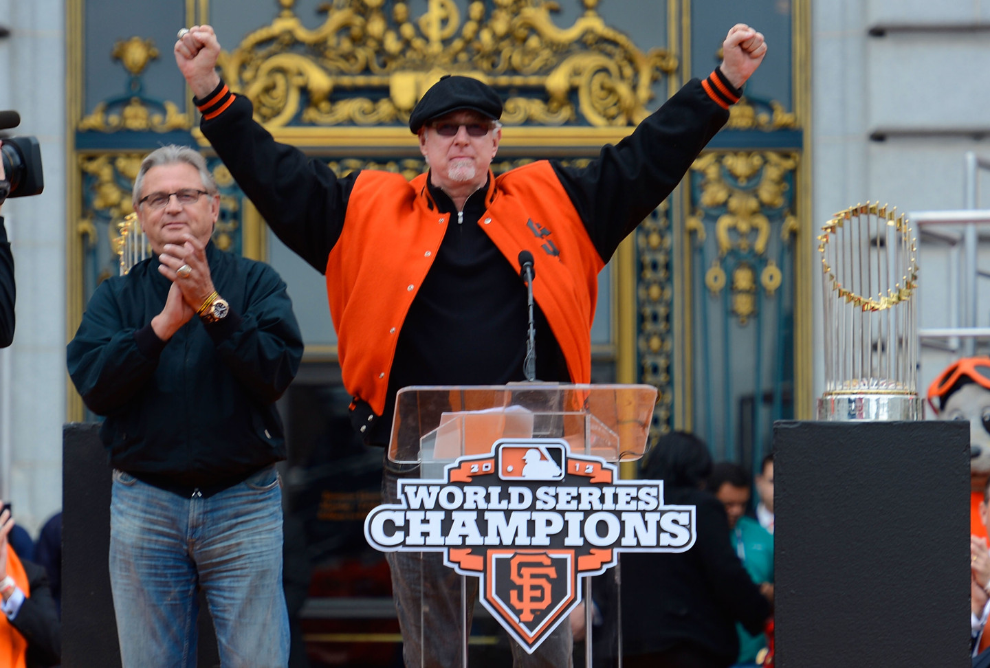 Giants broadcasters Duane Kuiper, left, and Mike Krukow during 2012 World Series victory celebration at San Francisco City Hall. (Thearon W. Henderson/Getty Images)