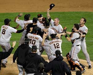 The San Francisco Giants celebrate.