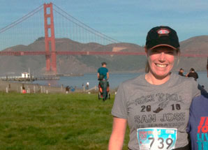 Amanda Stupi in front of the Golden Gate Bridge.