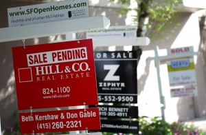 Real estate signs in front of homes for sale March 23, 2010 in San Francisco. Justin Sullivan/Getty