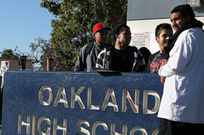 Students stand in front of Oakland High School. Justin Sullivan/Getty