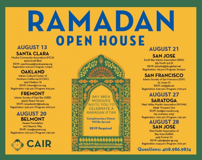 Invitation to Bay Area open mosques, courtesy of CAIR