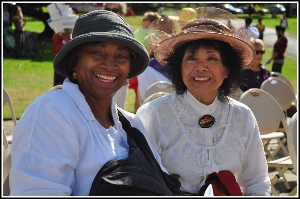 Two women take part in a women's suffrage celebration at Lakeside Park in Oakland. Photo: Ken L. Katz/Oakland Local