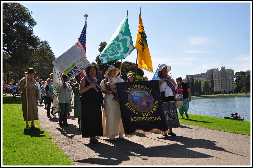 Oakland Mayor Jean Quan participated in a women's suffrage parade on Sunday on the shores of Lake Merritt. Ken L. Katz/Oakland Local