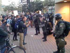 Occupy Oakland demonstrators face-off with Oakland riot police.