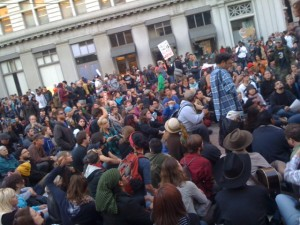 Protestors gather outside Oakland's Frank Ogawa Plaza