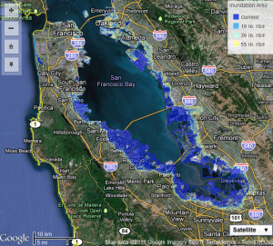 Developers building on shore of sf bay must now plan for rising sea google maps image of the bay area from cal adapts online interactive sea level rise tool publicscrutiny Images