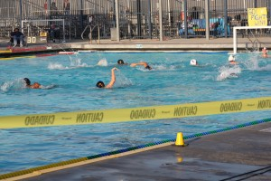 Water polo tournament at Fresno's Sunnyside High goes on, despite air quality so poor that school districts are supposed to cancel outdoor activities.  (Photo: Sasha Khokha)