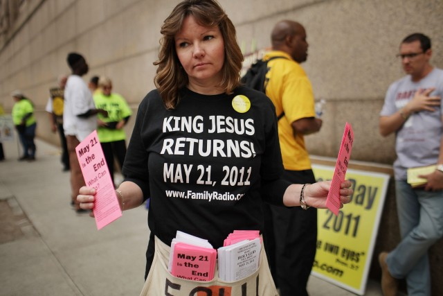 2011: A New York City believer in the Rev. Harold Camping's prediction that a biblically ordained Judgment Day was imminent. (Spencer Platt/Getty Images)