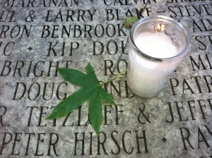 Candle at the National AIDS Memorial Grove. (Photo by: Scott Shafer/KQED)