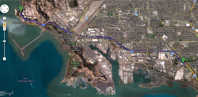 Richmond waterfront area near the new LBNL site. Courtesy Google Maps