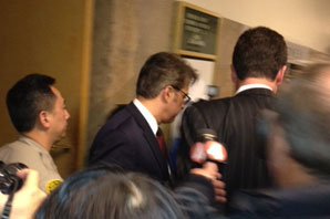 Sheriff Ross Mirkarimi leaves the courtroom after the hearing. (Photo by: Mina Kim/KQED)