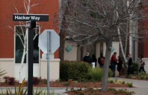 A street sign for 'Hacker Way' is stands at the Facebook headquarters on February 1, 2012 in Menlo Park, California. (Photo by: Justin Sullivan/Getty Images)