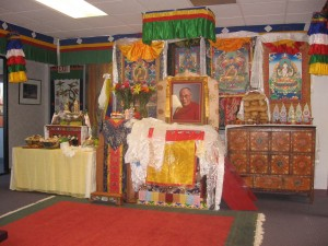 An altar pays homage to the Dalai Lama.