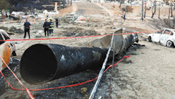 A section of the failed San Bruno pipeline (Photo: NTSB)