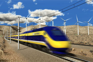 An artist's rendering of California's high-speed rail. Courtesy the High-Speed Rail Authority