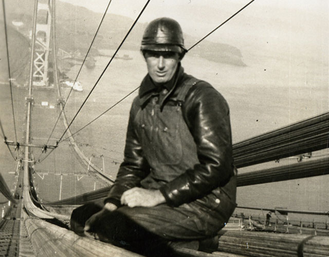 Fred Dummatzen sitting on the bridge.