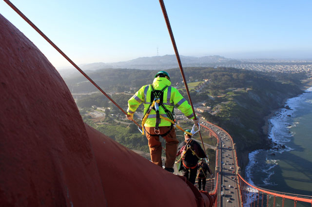 Golden Gate Bridge electrician on main cable.