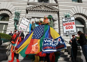 Protesters on both sides closely watched the 9th Circuit U.S. Court of Appeals decision on Proposition 8.