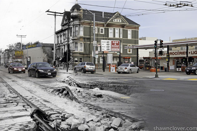 Cars travel down S. Van Ness, which has buckled after the quake. 2012 photo blend by Shawn Clover.