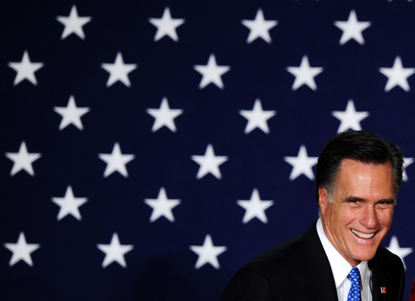 Mitt Romney arriving at  rally in Des Moines, Iowa, on Jan. 3, 2012.
