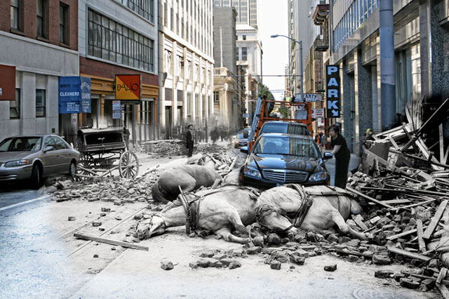 A women opens the door to her Mercedes on Sacramento Street while horses killed by falling rubble lie in the street. 2010 photo blend by Shawn Clover.