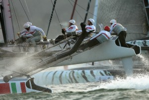 Team Luna Rossa Swordfish competes in a fleet race during the America's Cup World Series. ( Ezra Shaw/Getty Images)