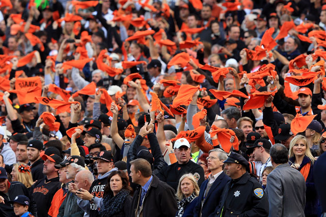 Giants fans cheer during a 2012 World Series game at AT&T Park. (Doug Pensinger/Getty Images)