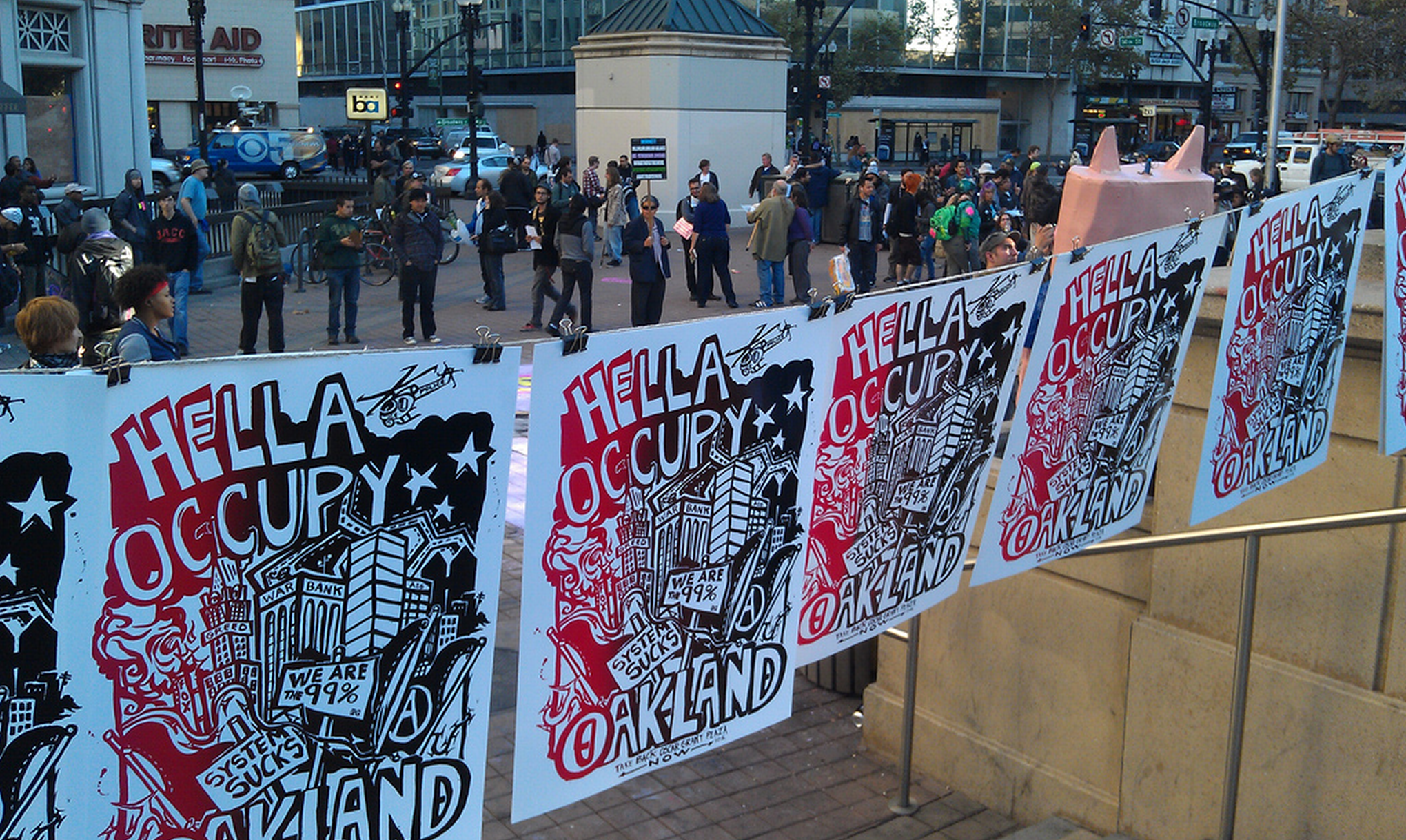 The scene at Frank Ogawa Plaza late Thursday afternoon. Andrew Stelzer/KQED