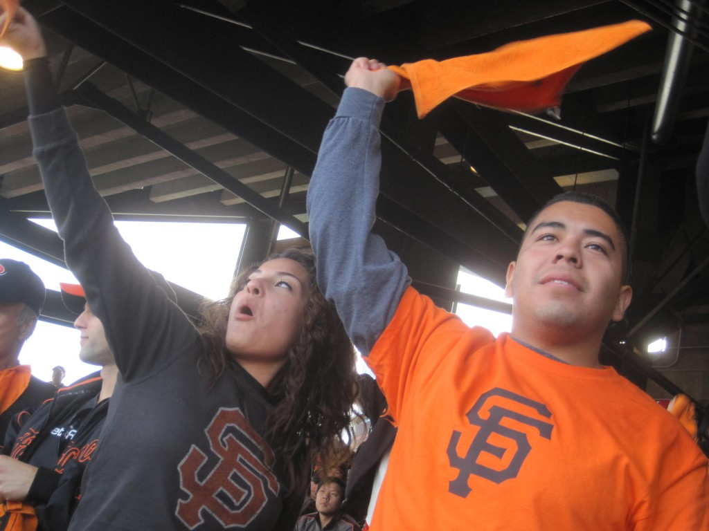 Cheering on the Giants. Photo by Scott Shafer/KQED.