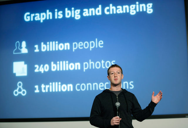 Facebook Chairman and Chief Executive Mark Zuckerberg introduces Graph Search this morning in Menlo Park. Photo by Stephen Lam/Getty Images.