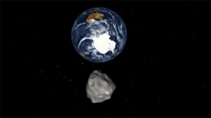 A simulation of asteroid DA14, captured from a  NASA video.