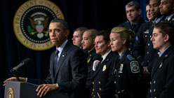 Joined by emergency responders, President Barack Obama warned of the effects of the sequester. (Brendan Smialowski/AFP/Getty Images