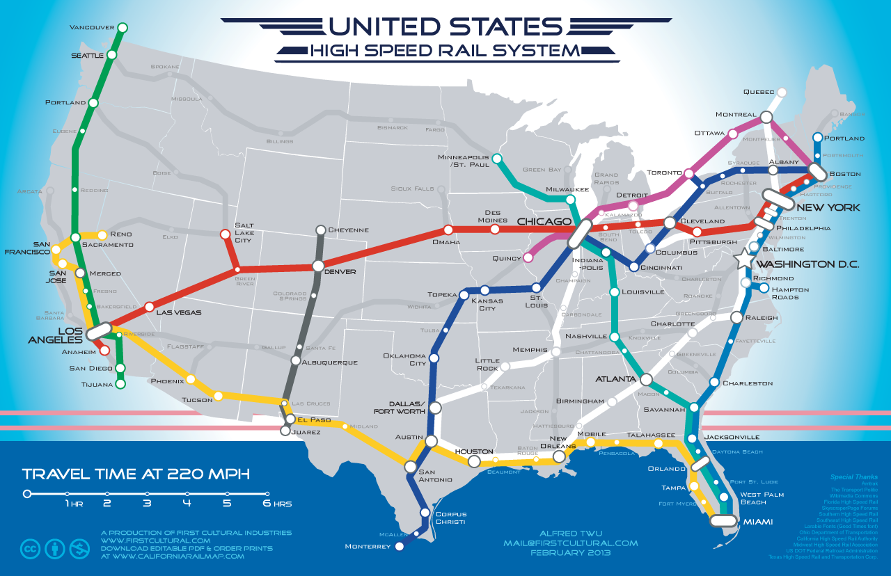 San Francisco to Las Vegas in 5 Hours by Train A Map for a – Train Travel In Usa Maps