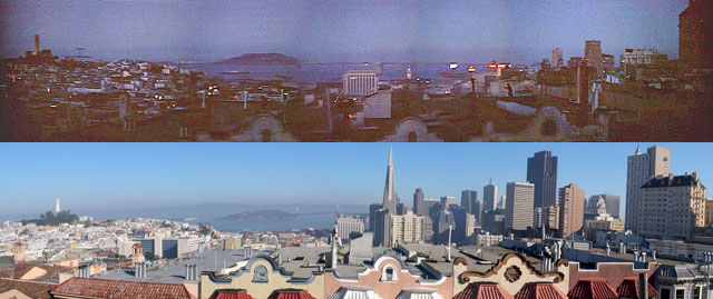 "The view from the roof of 1302 Taylor St., which features in the opening sequence of ""Vertigo."" At top, how it appears in the movie; bottom, the view today. (Courtesy Reel SF)"