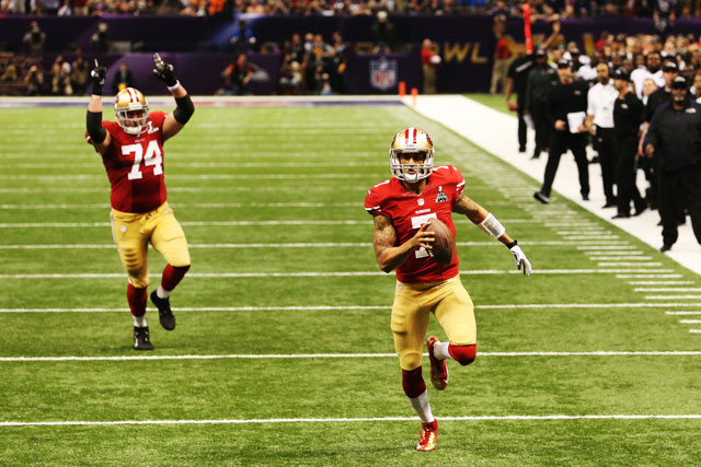 Kaepernick then rushed for a TD. After a failed 2-point conversion, it was Ravens 31, 49ers 29. (Ronald Martinez/Getty Images)