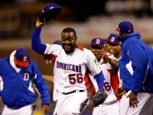 Rodney Fernando #56 of the Dominican Republic celebrates with his team after defeating the Netherlands to win the semifinal of the World Baseball Classic at AT&T Park on March 18, 2013 in San Francisco, California. (Photo by Ezra Shaw/Getty Images)