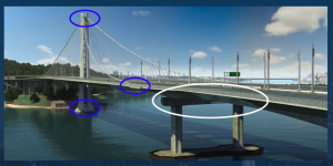A graphic of the location of anchor bolts on the bridge. The faulty 2008 bolts are circled in white. (graphic: Bay Area Toll Authority)