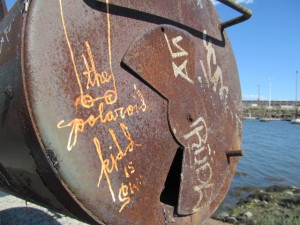 """The Polaroid Kidd"" makes his mark at Oakland's 5th Avenue Marina."