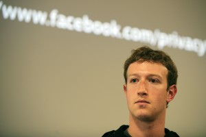 Mark Zuckerberg speaks during a press co