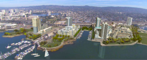 Artist's conception of the Brooklyn Basin development along the Oakland Estuary, south and east of downtown and Jack London Square.
