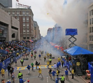 The scene of the explosions at the Boston Marathon. (David L. Ryan/The Boston Globe via Getty Images)