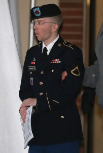 Bradley Manning, escorted from a hearing on Jan. 8, 2013. (Mark Wilson/Getty Images)