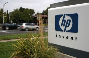 The HP logo is displayed on the entrance to the Hewlett-Packard Headquarters September 16, 2008 in Palo Alto, California. (Justin Sullivan/Getty Images)