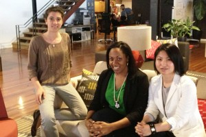 Renee DiResta (l), Cathryn Posey (c) and Kaming Li (r) of the OpenJudge hackathon team. (Scott Detrow/KQED)