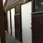 It doesn't look like much, but these new bathroom doors will do a lot to draw back visitors to Palomar's campgrounds. (Credit KQED/Rachael Myrow)