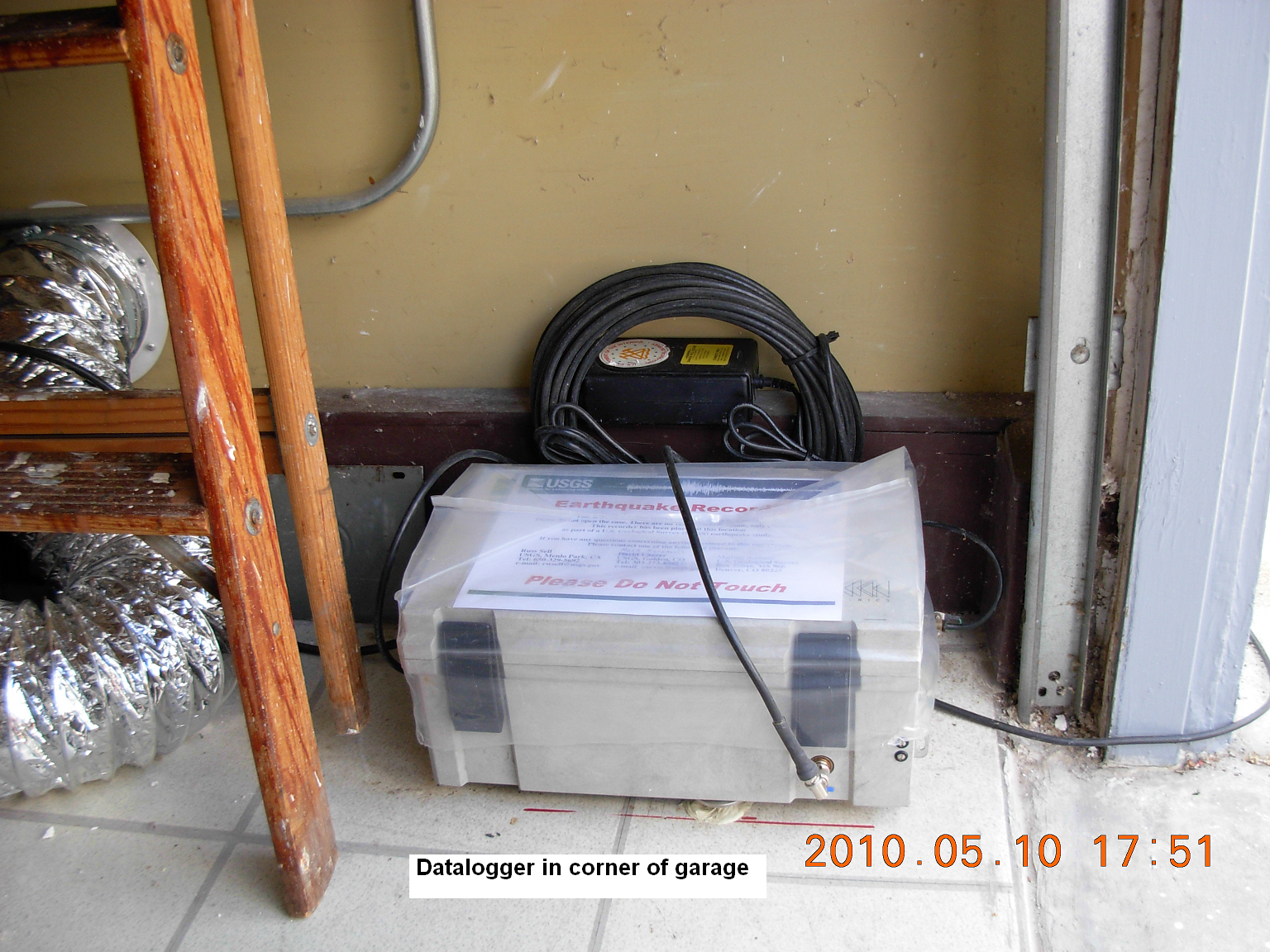 The K2 seismograph installed in a garage corner. (Courtesy USGS)