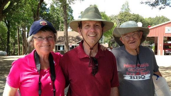 Left to right: Rosemary Johnston, Rick Barclay, Bob Hillestad wear sun hats and sun screen on a regular basis to volunteer at Palomar Mountain State Park in San Diego County.