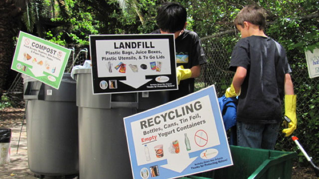 Students at John Muir Elementary sort for composting and recycling. (Courtesy of Green Schools Initiative)